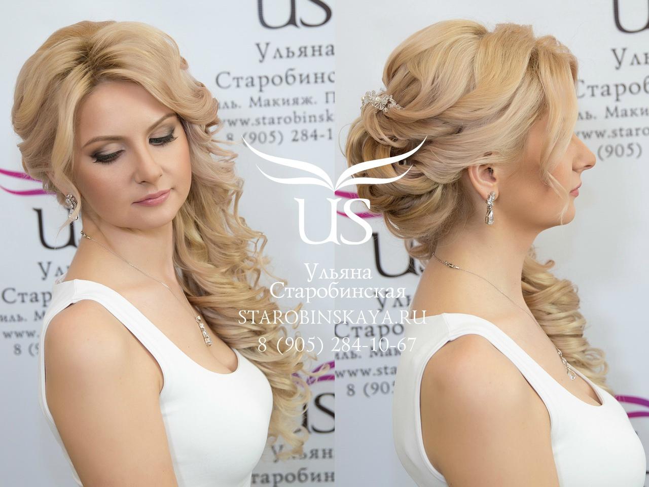 прически на свадьбу на бок на средние волосы