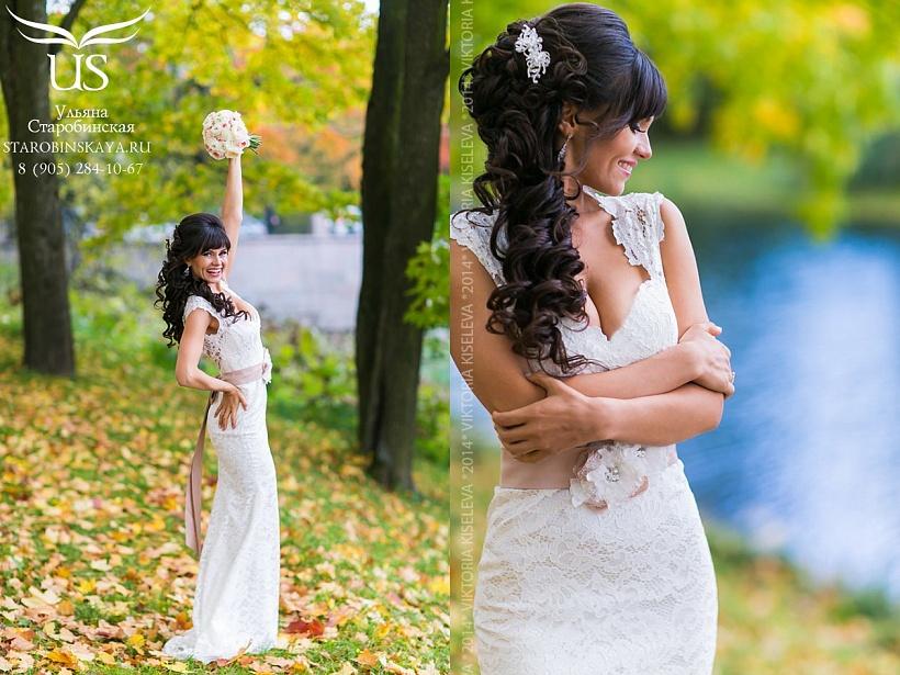 Прически невесты с челкой